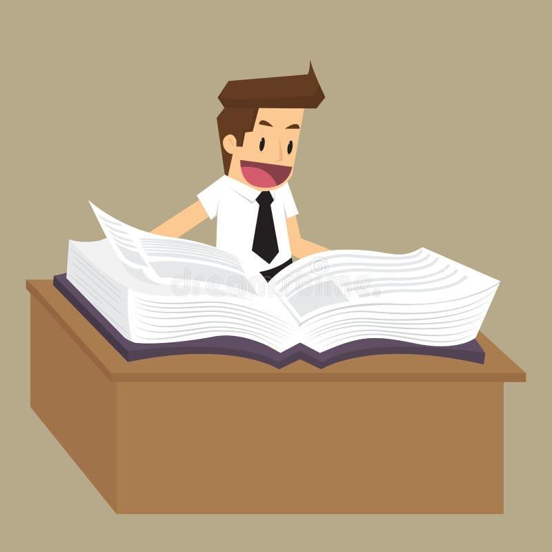 Zakenman die een boek lezen om het idee te vinden vector illustratie