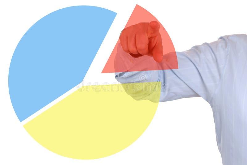 Zakenman die een diagram van het bedrijfsstatistiekencirkeldiagram tonen stock fotografie