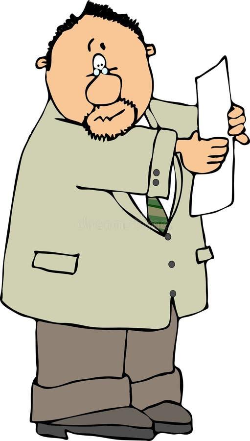 Zakenman die een document leest vector illustratie