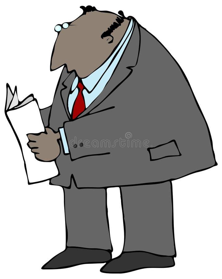 Zakenman die een Document leest stock illustratie
