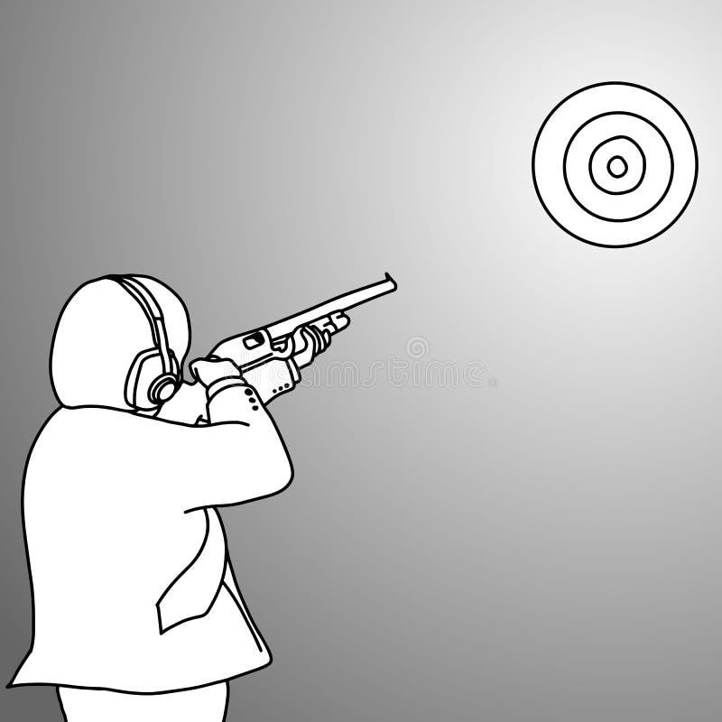Zakenman die een doel met geweervector schieten stock illustratie