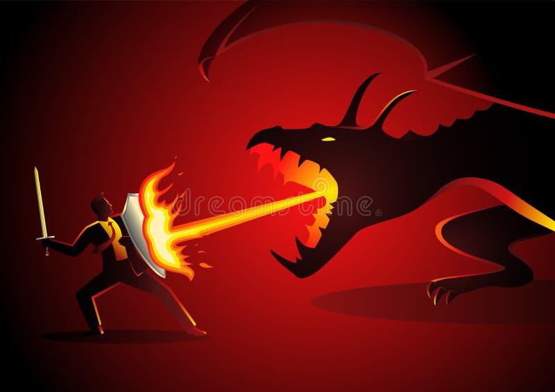 Zakenman die een draak bestrijden vector illustratie