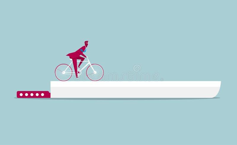 Zakenman die een fiets berijden op het mes stock illustratie