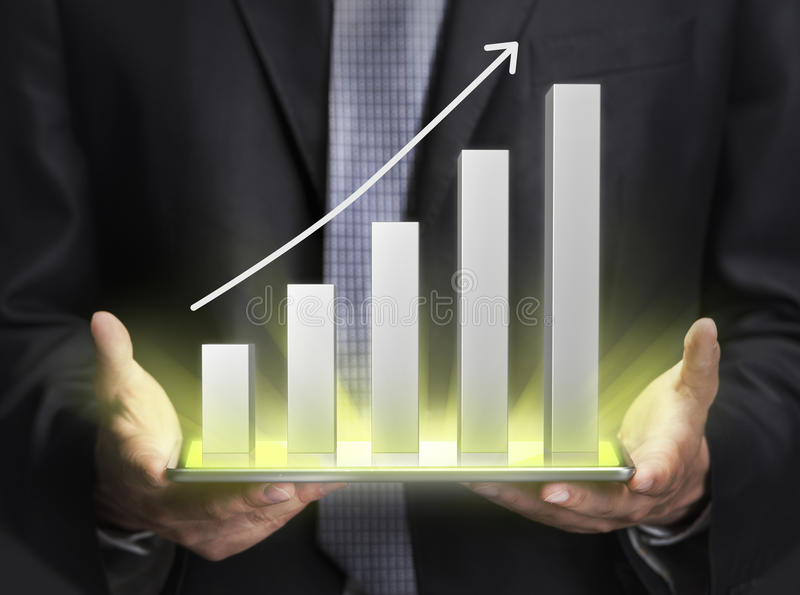 Zakenman die een grafiek houden die de groei tonen stock afbeeldingen