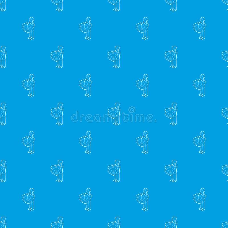 Zakenman die een het patroon vector naadloos blauw houden van de overzichtsdoos vector illustratie