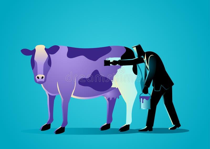 Zakenman die een koe met pupleverf schilderen royalty-vrije illustratie