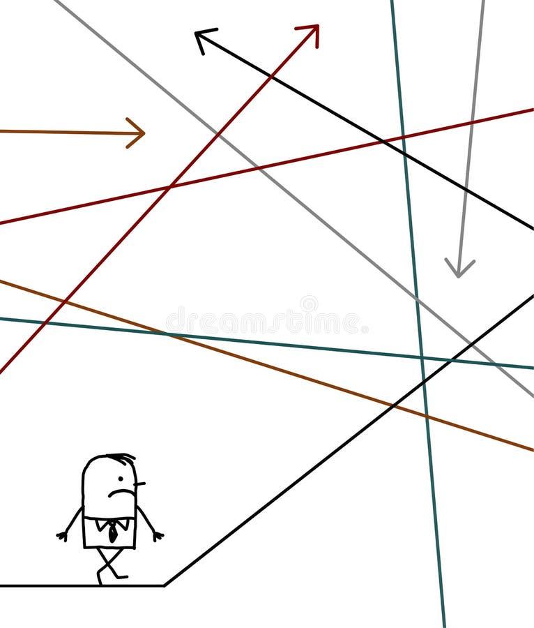 Zakenman die in een labyrint wordt verloren royalty-vrije illustratie