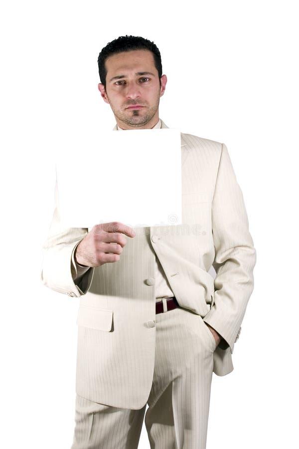 Zakenman die een leeg teken houdt stock foto's