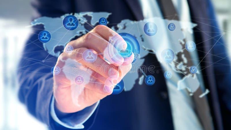Zakenman die een Netwerk over een verbonden wereldkaart houden - 3d aangaande stock illustratie