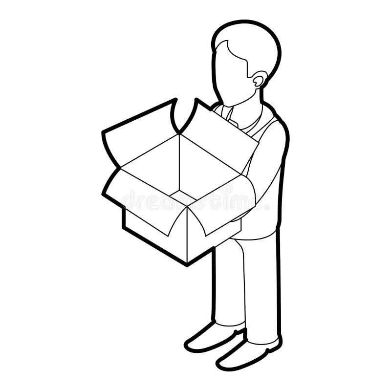 Zakenman die een pictogram van de overzichtsdoos houden vector illustratie