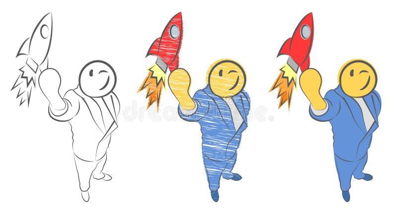 Zakenman die een raket houden De kerel lanceert raket in de hemel De werknemer voert het opstarten van het ruimtevaartuig uit Sta royalty-vrije illustratie