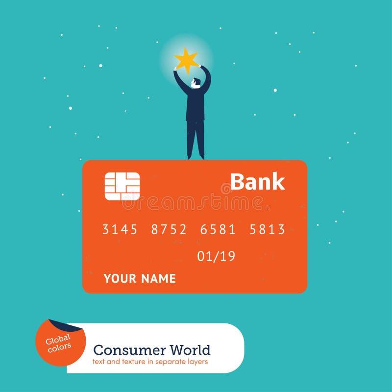 Zakenman die een ster bovenop een creditcard vangen vector illustratie