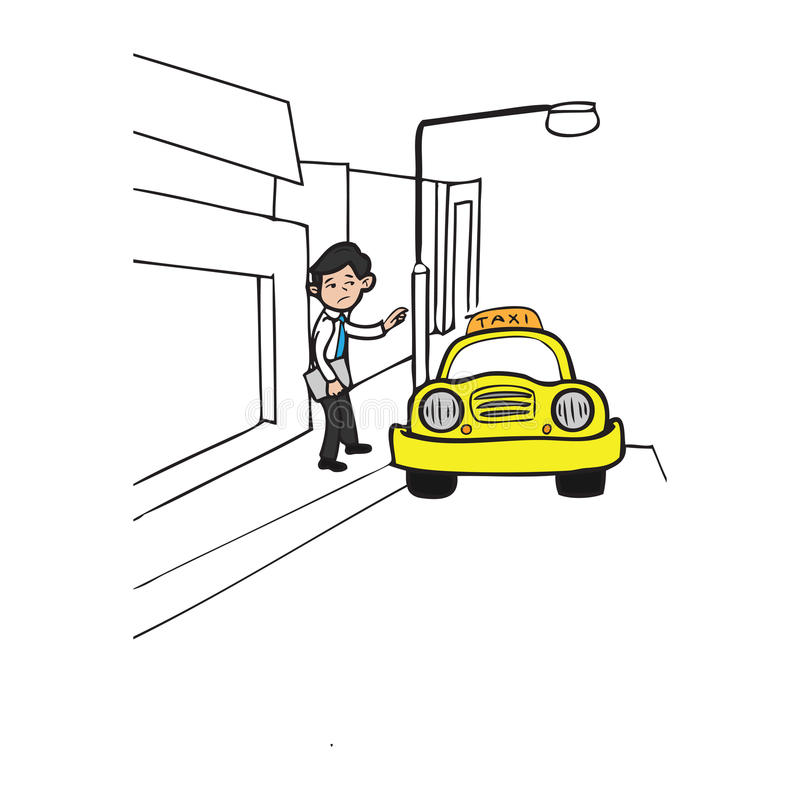 Zakenman die een taxi roepen stock illustratie