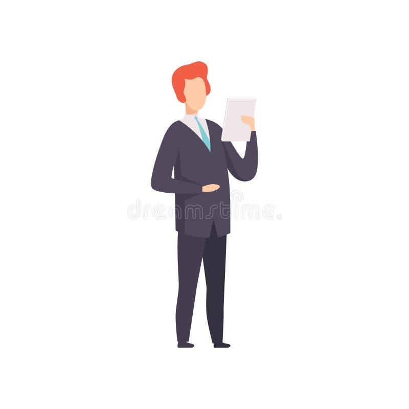 Zakenman die en document document, succesvol bedrijfskarakter bij het werk vectorillustratie bevinden zich lezen op een wit royalty-vrije illustratie