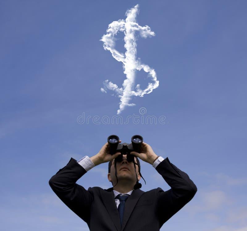 Zakenman die fortuin zoekt stock foto