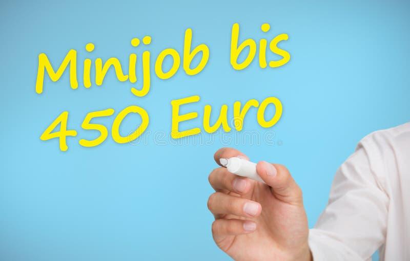 Zakenman die in gele minijob BIB 450 euro schrijven vector illustratie