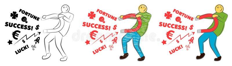 Zakenman die geluk met een grote magneet aantrekken Idee en bedrijfsconcept Succesvolle Zaken De kerel houdt een magneet Hand get stock illustratie