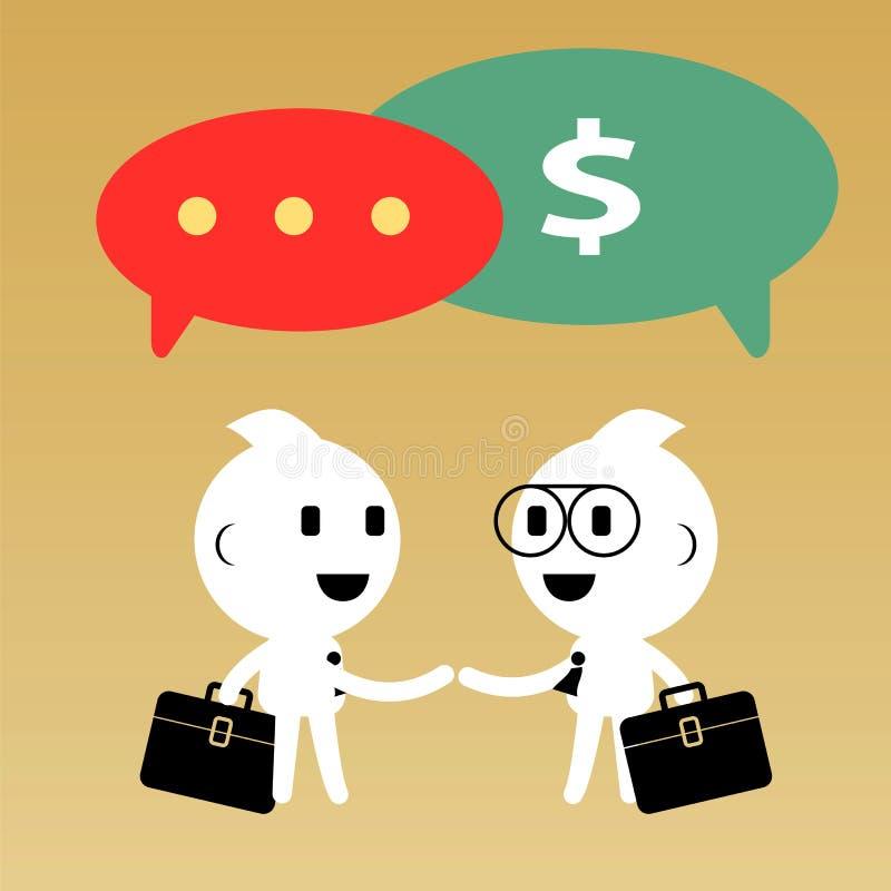 Zakenman die gesprek en onderhandeling hebben Samenvatting royalty-vrije illustratie