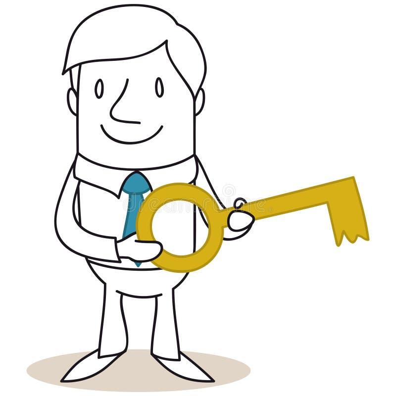 Zakenman die gouden sleutel houden vector illustratie