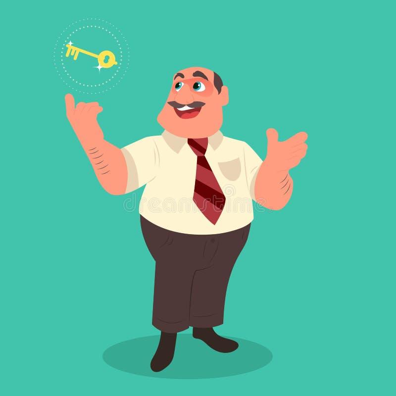 Zakenman die gouden zeer belangrijk geheim van succes houden stock illustratie
