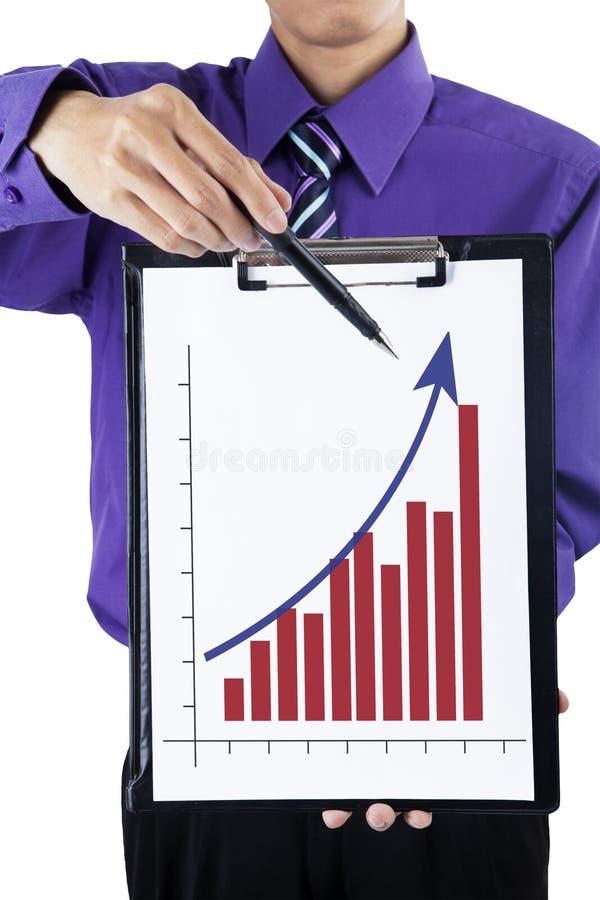Zakenman die grafiek tonen royalty-vrije stock foto