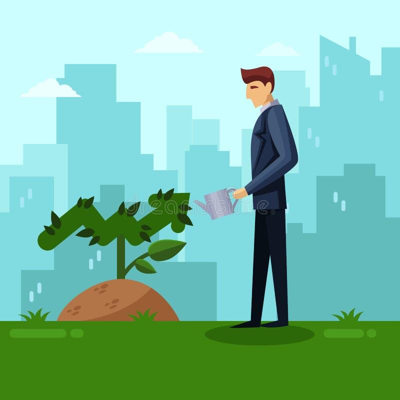 Zakenman die groene pijlinstallatie water geven Van de de groeiinvestering en ontwikkeling bedrijfsconcept Vector vlakke illustra vector illustratie