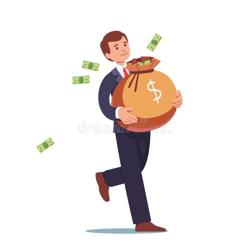 Zakenman die groot zakhoogtepunt van contant geldgeld dragen vector illustratie