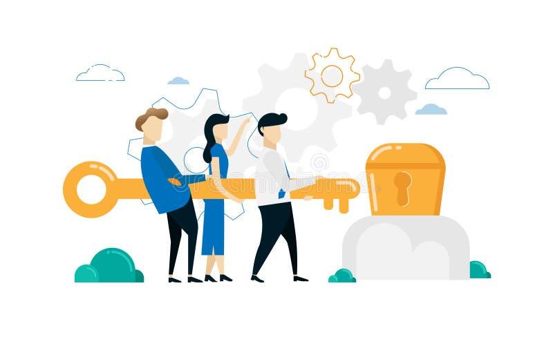 Zakenman die grote sleutel houden aan open schat Groepswerk en succesconceptontwerp royalty-vrije illustratie