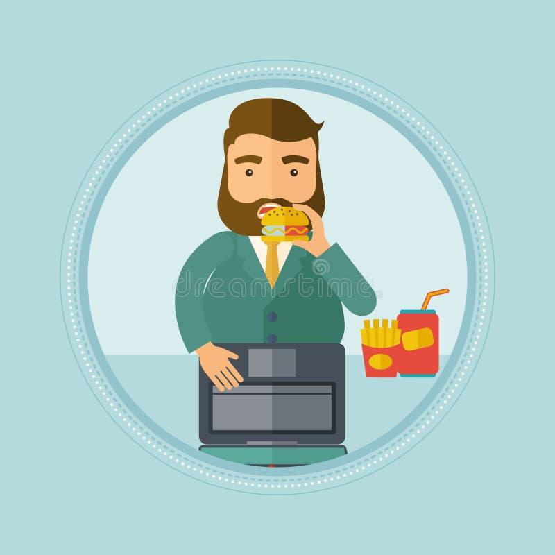 Zakenman die hamburger vectorillustratie eten vector illustratie