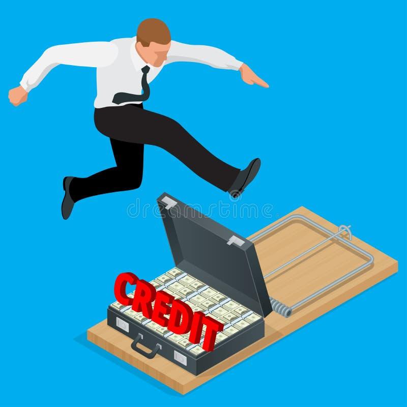 Zakenman die het bankwezen van kredietfinanciën proberen te vermijden Vlak 3d isometrisch bedrijfsconcept stock illustratie