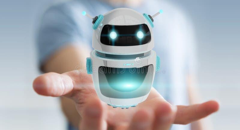 Zakenman die het digitale de toepassing van de chatbotrobot 3D teruggeven gebruiken royalty-vrije illustratie