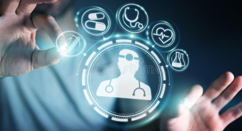 Zakenman die het digitale medische interface 3D teruggeven gebruiken stock illustratie