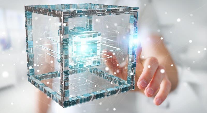Zakenman die het futuristische kubus geweven objecten 3D teruggeven gebruiken stock illustratie