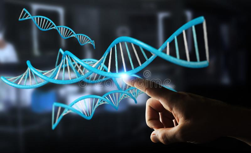 Zakenman die het moderne DNA-structuur 3D teruggeven gebruiken vector illustratie