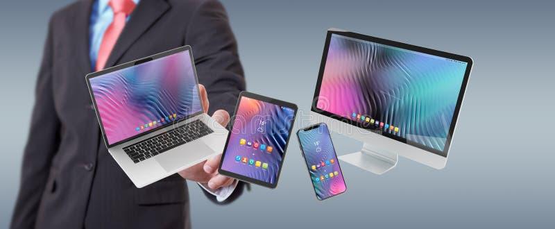 Zakenman die het moderne laptop en de computer 3D teruggeven verbinden van de smartphonetablet royalty-vrije illustratie