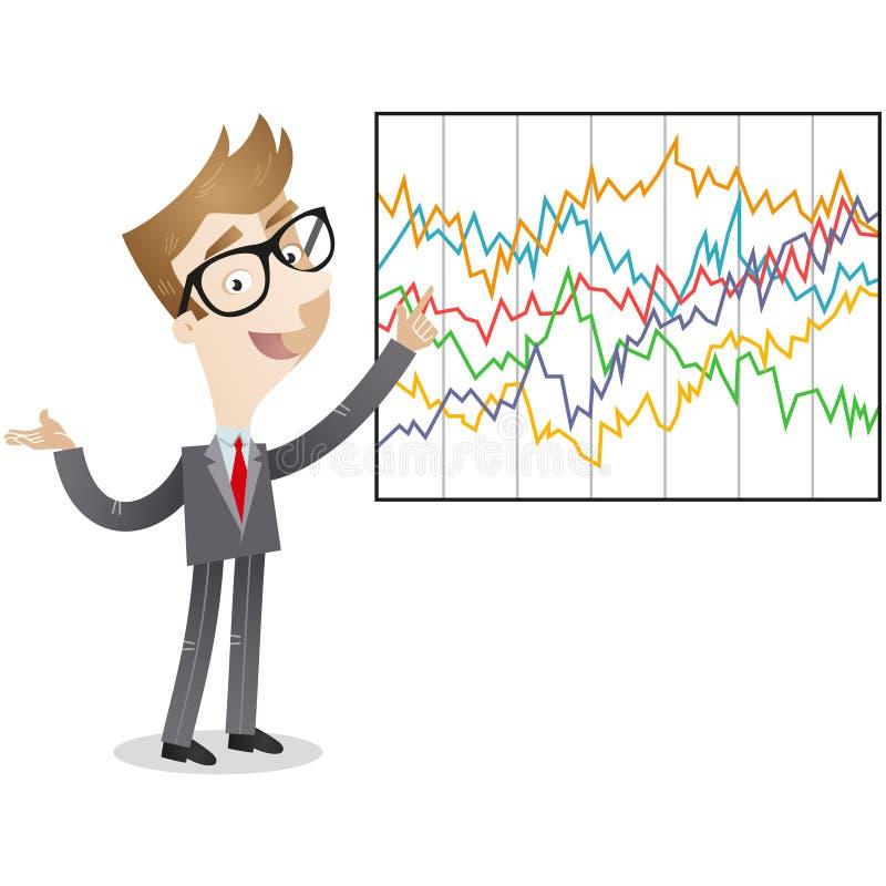 Zakenman die ingewikkelde statistieken verklaren vector illustratie