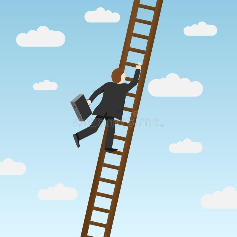 Zakenman die ladder beklimt royalty-vrije illustratie
