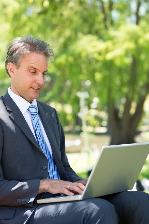 Zakenman die laptop in park met behulp van royalty-vrije stock fotografie
