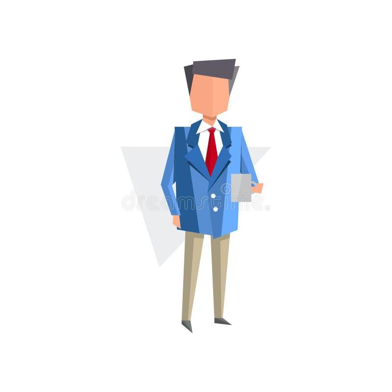 Zakenman die leeg document blad, administratie, de vectorillustratie bureaucratie van het bedrijfsconceptenbeeldverhaal op een wi stock illustratie