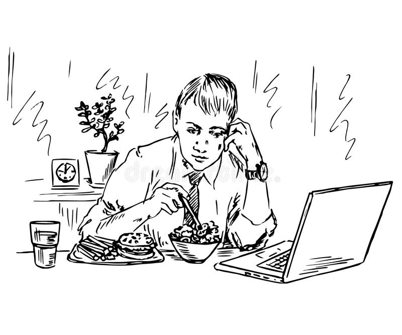 Zakenman die lunch eten en met computer in dezelfde tijd werken stock illustratie
