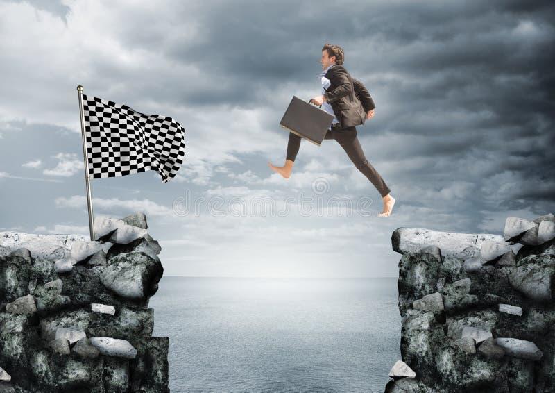 zakenman die met aktentas op de rotsen springen om aan de controleursvlag aan te komen stock foto's