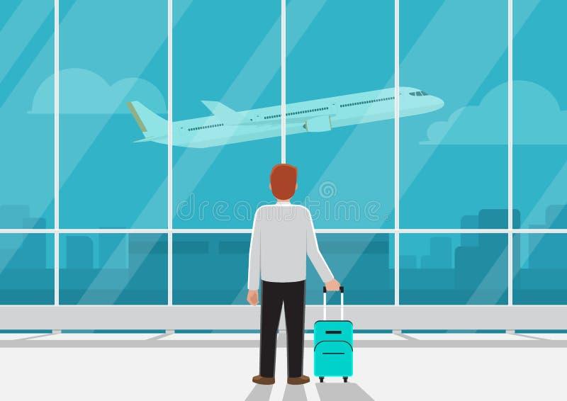 Zakenman die met bagage in luchthaven vliegtuig in s bekijken stock illustratie