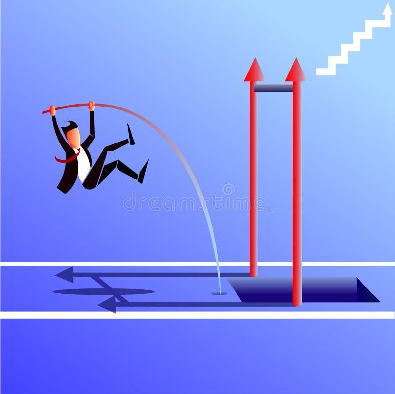 Zakenman die met een pool springen royalty-vrije illustratie