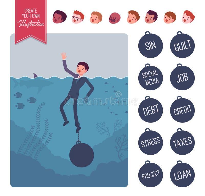 Zakenman die met een reeks van de gewichtsverwezenlijking verdrinken royalty-vrije illustratie