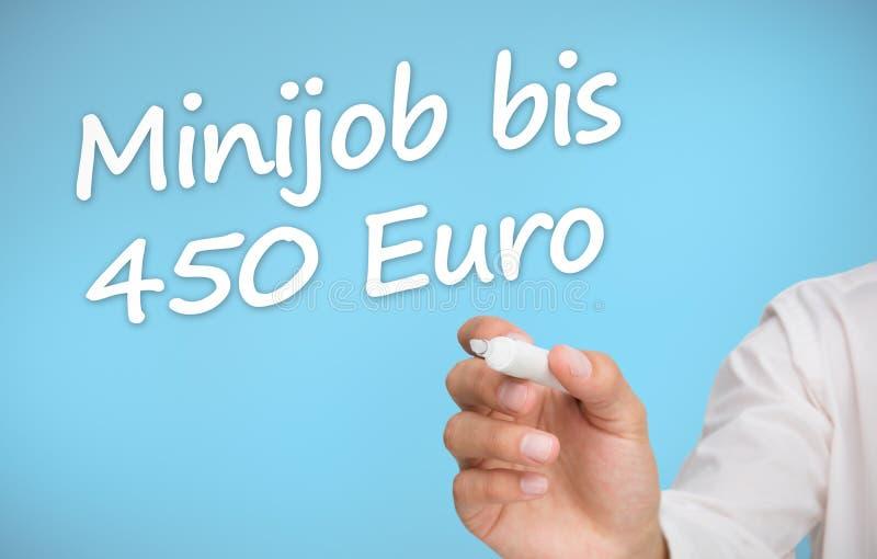 Zakenman die met een teller minijob BIB 450 euro schrijven stock illustratie