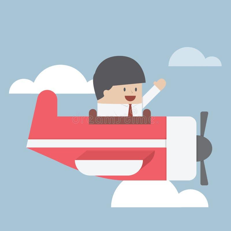 Zakenman die met privé straal vliegen royalty-vrije illustratie