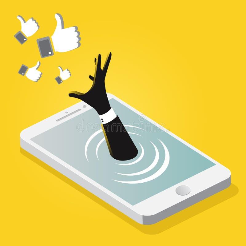 Zakenman die in mobiele telefoon verdrinken royalty-vrije illustratie