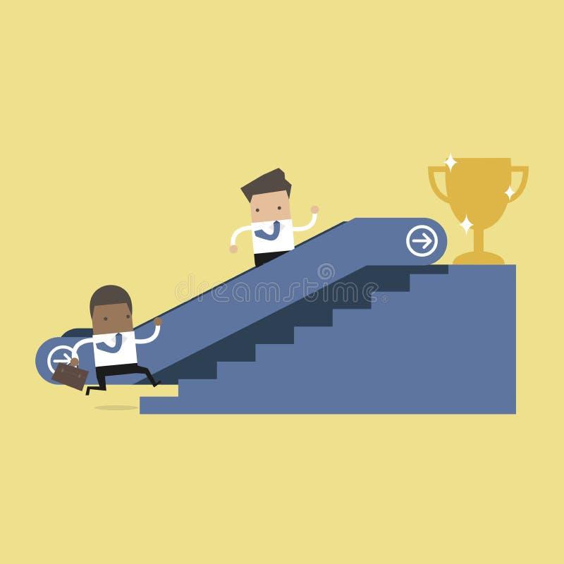 Zakenman die die naar roltrap naar succestrofee en de een andere mens stijgen die de treden beklimt royalty-vrije illustratie