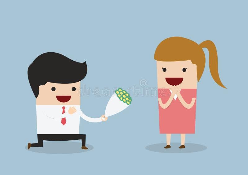 Zakenman die onderaan het geven van bloem aan vrouw knielen vector illustratie
