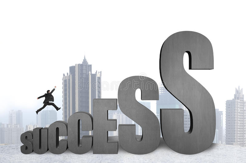 Zakenman die op 3D succes concreet woord springen met stad backgr stock illustratie